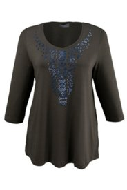 Shirt mit Ornament aus Ziersteinen, A-Linie