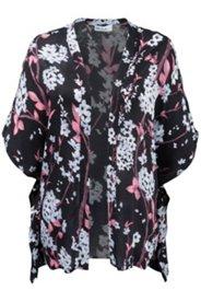 Kimono-Bluse mit Blütenmuster, weites Modell