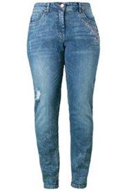 Boyfriend-Jeans mit Spitzen-Applikation