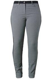 Jacquard-Hose mit schwarzen Seitenstreifen, schmales Bein