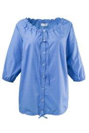 Bluse mit Carmen-Ausschnitt und elastischen Ärmelabschlüssen