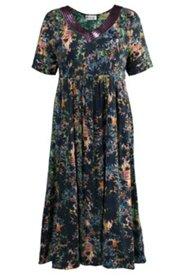 Kleid, V-Ausschnitt mit glitzerndem Paillettenband