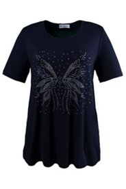 Shirt mit Schmetterling aus Ziersteinen, Stretch