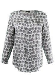 Bluse mit breiter Knopfleiste, Seidenmischung