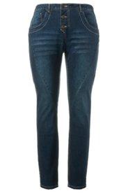 Jeans im Used-Look, weite Oberschenkel