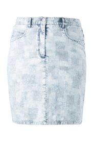 Jeansrock mit Waffelstruktur, gerader 5-Pocket-Schnitt