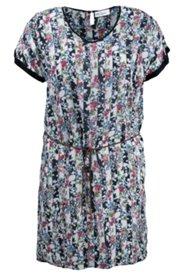 Kleid mit Flechtgürtel, weite Schultern