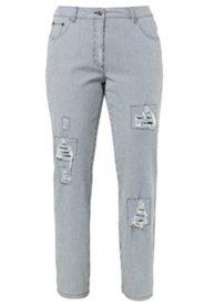 Boyfriend-Jeans mit Streifen und Destroy-Effekten, Stretch