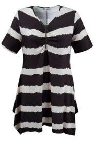 Kleid mit breiten Batikstreifen und Raffung