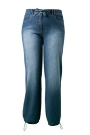 Jeans mit Wascheffekten, weites Bein mit Tunnelzug