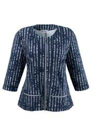 Jacke mit Streifen und Spitzendruck, leicht tailliert