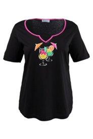 Shirt mit Cocktail-Motiv, 100 % Baumwolle