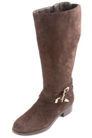 Stiefel aus Veloursleder mit XXL- Weitschaft, Weite H