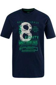 T-Shirt, Rundhals, Zahlen-Motiv, Baumwolle, Used-Optik
