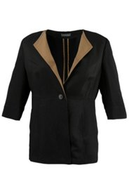 Leinenjacke mit Revers in Kontrastfarbe, 3/4-Arm