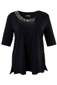 Shirt mit Zierblende, Viskose-Crêpe