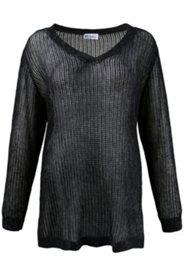 Pullover, V-Ausschnitt, Allover-Print, Leo-Muster, weicher Strukturstrick