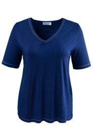 T-Shirt mit Metallic-Nähten und kleiner Raffung