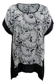 Longbluse mit Federmuster, oversized