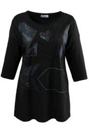 Shirt mit Metallic-Effekt und Spitzenapplikation, oversized