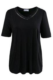 Shirt, Ausschnitt mit Perlenstickerei