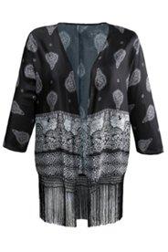 Kimono mit Paisleymustern und Fransen, offene Form