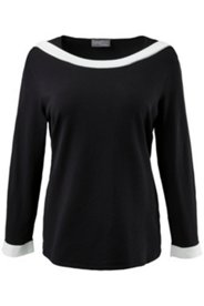 Pullover, U-Boot-Ausschnitt, weiße Blende