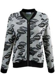 Jacke, Ausbrenner-Qualität mit Kussmund-Muster