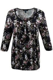 Shirt, dekorativer Rundhalsausschnit, A-Linie, 3/4-Arm