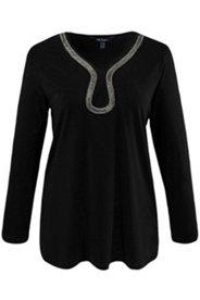 Shirt, Perlendekor, A-Linie, Stretchkomfort