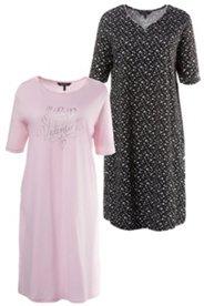 Nachthemd, 2er-Pack, 1 x Valentine-Schriftzug, 1 x Herzmuster, Baumwolle
