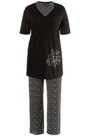 Pyjama, Herz-Ausschnitt, 3/4-Arm, Silberdruck, Baumwolle