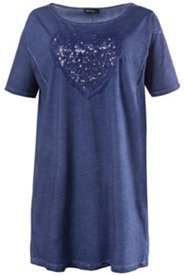 Bigshirt, Herz-Applikation, Pailletten, oversized