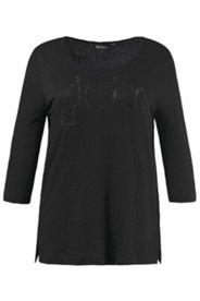 Shirt, Schriftzug aus Ziersteinen, Leo-Muster