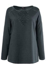 Sweatshirt, Spitzenapplikation, oildyed