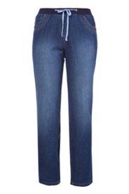 7/8-Jeans mit Elastikbund, gerades Bein