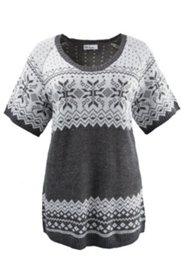 Norweger-Pullover, langes Modell, Halbarm