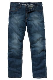 Jean 5 poches, straight fit, stitching contrastant