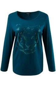 Shirt motif tigre en strass manches longues