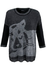 Pull boxy motif chat manches longues