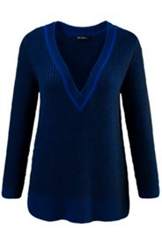 Pull maille structure 3D encolure passepoil