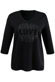 T-shirt calligraphie LOVE manches 3/4