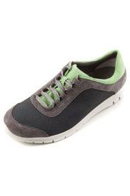 Sneakers mesh et cuir semelle blanche largeur H