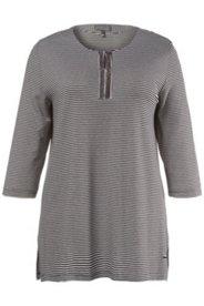 T-shirt jersey de crêpe rayures bordure scintillante manches 3/4