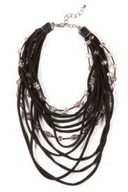 Beau collier aux éléments graphiques fantaisie et en partie avec des pierres scintillantes et des rubans de jersey. Ce collier a un fermoir à mousqueton et 6 cm de rallonge.