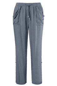 Pantalon twill lyocell coupe droite ceinture élastiquée