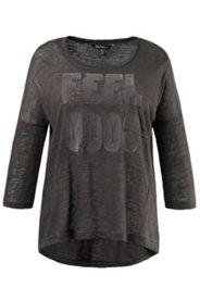 T-shirt oversize motif imprimé floqué manches 3/4