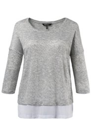 Pull look 2 en 1 douce maille manches 3/4