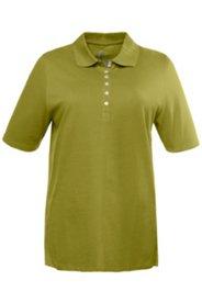 Poloshirt, farbige Samtband-Knopfleiste, reine Baumwolle
