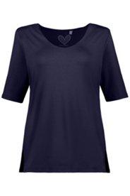 Shirt aus Viskose-Crêpe, doppelter Stoff, mit Elasthan